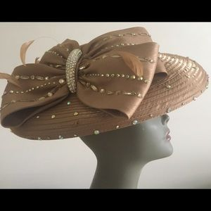 Milano Gold Bow Brimmed Hat